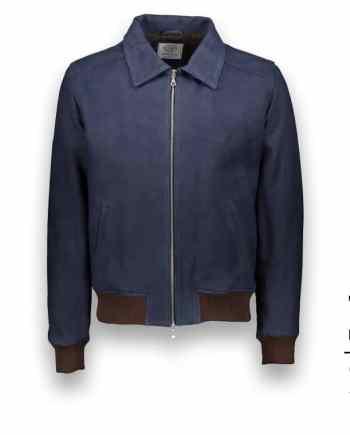 Blouson daim sur-mesure bleu A2 costume privé paris fabrication sur mesure Italie