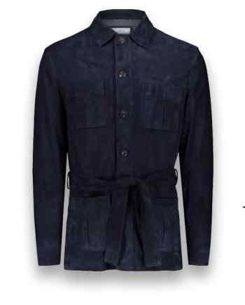 Veste Safari Nubuck bleu costume privé paris fabrication sur mesure Italie