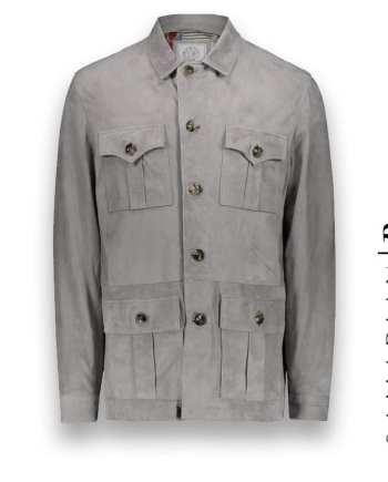 veste suède Saharienne gris clair Roger costume privé paris fabrication sur mesure Italie