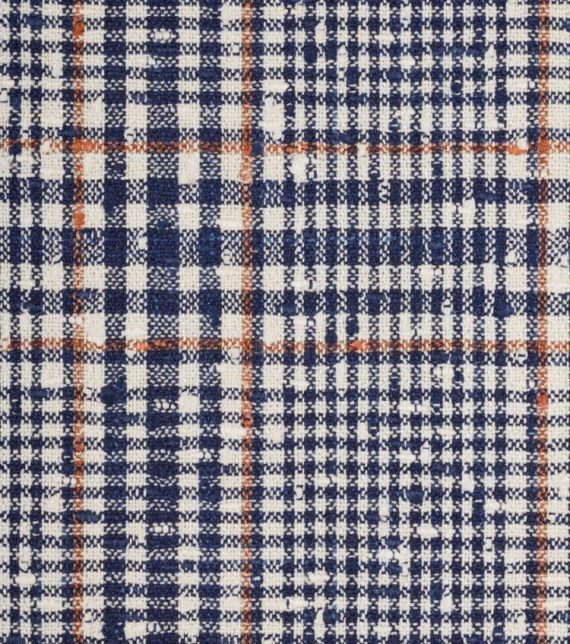 tissu prince de galles bleu orange summer time Loro piana