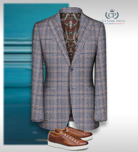 prince de galles bleu orange summer time Loro piana