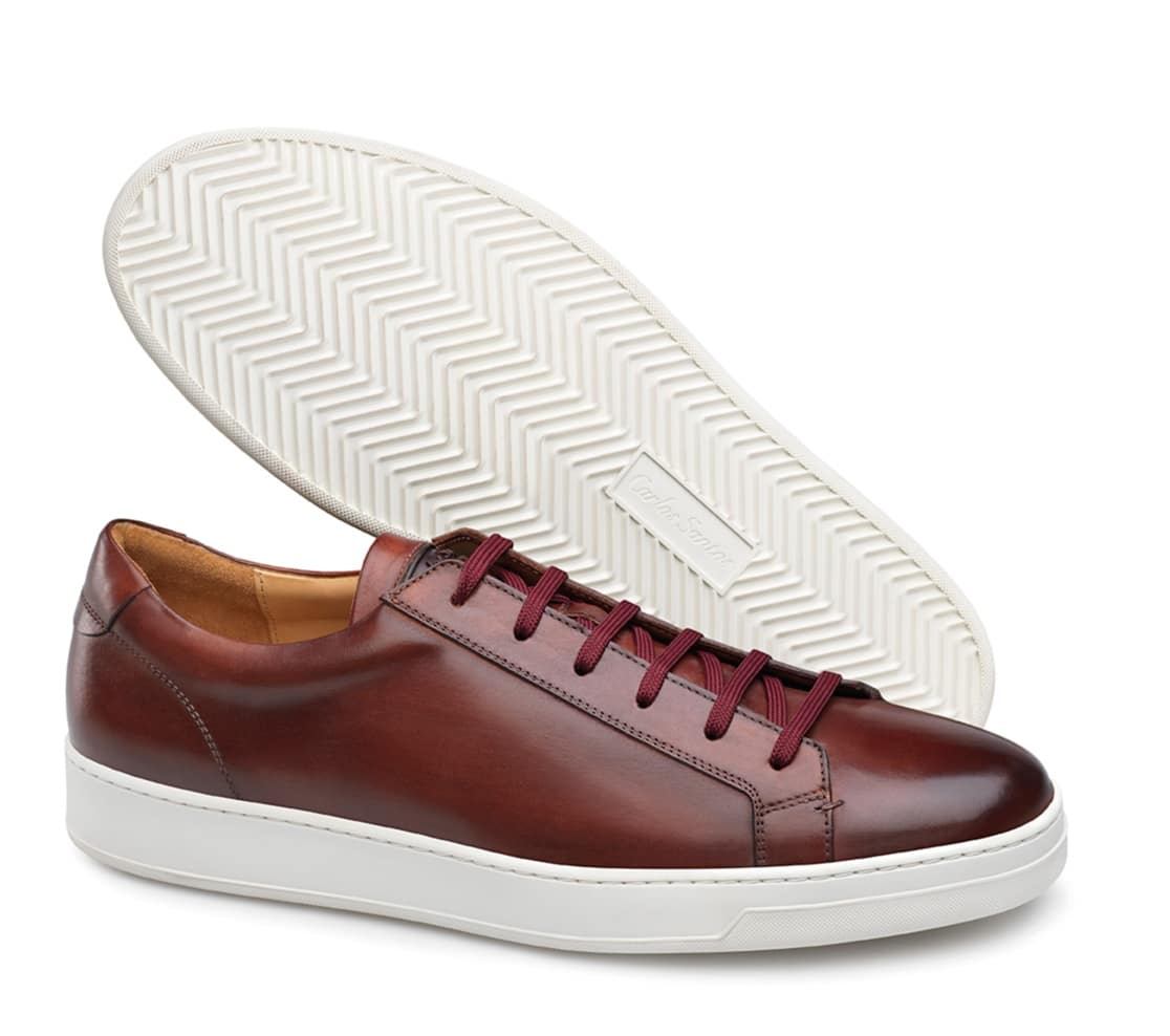 baskets cuir bordeaux Carlos Santos