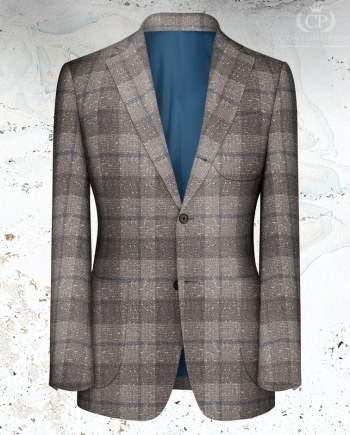 Veste gris clair large carreau sur mesure tailleur Paris
