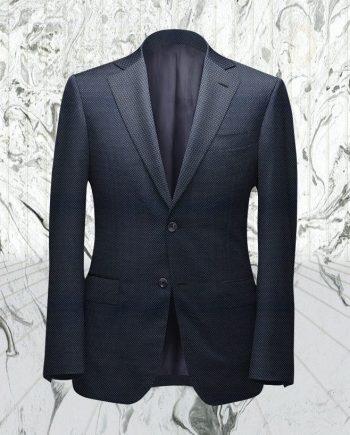 Costume bleu foncé grain caviar sur mesure tailleur paris