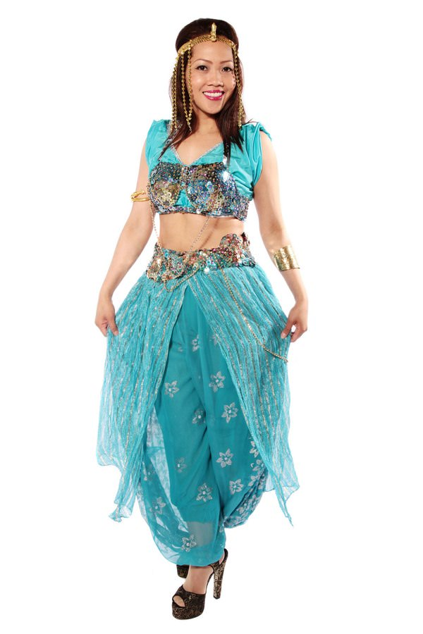 BELLY DANCING TURQUOISE COSTUME W SEQUINNED BRA TOP
