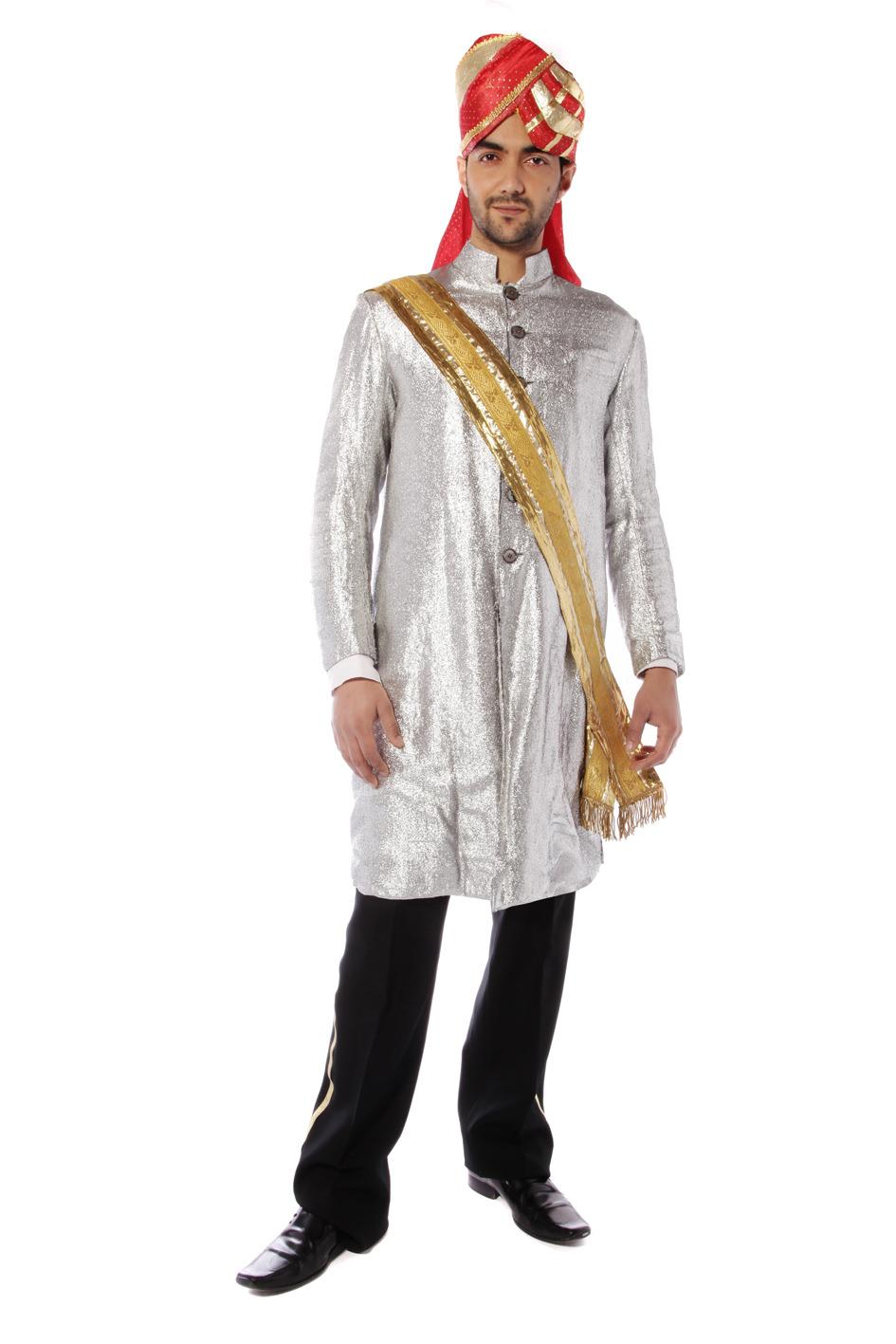 BOLLYWOOD PRINCE COSTUME W SILVER NEHRU JACKET