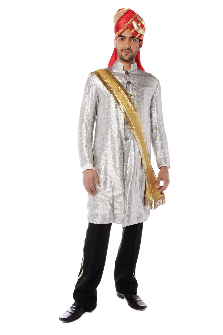 BOLLYWOOD PRINCE COSTUME W SILVER NEHRU JACKET