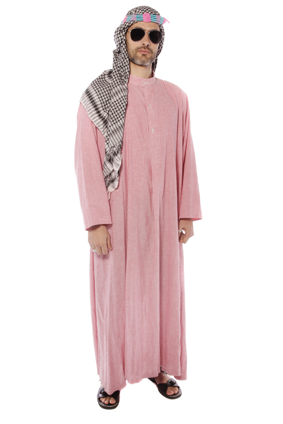 ARABIC SHEIK PINK STRIPES COSTUME WITH HEADDRESs