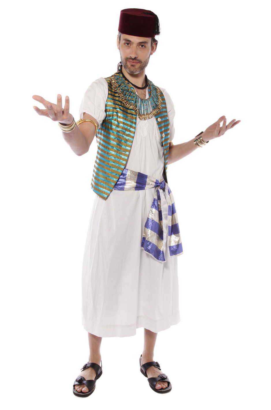 EGYPTIAN PRINCE COSTUME WITH STRIPED WAISTCOAT