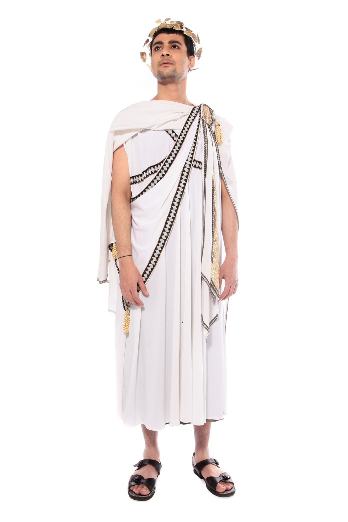 ROMAN EMPEROR COSTUME W LONG WHITE TOGA