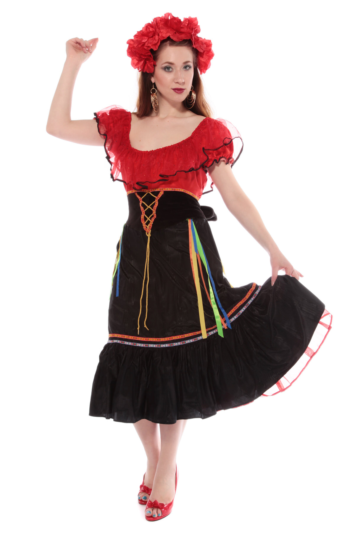 SPANISH GIRL COSTUME W RED & BLACK DRESS
