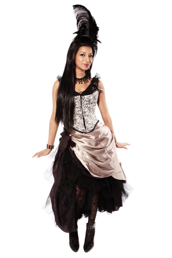 MOULIN ROUGE BEIGE SATIN DRESS