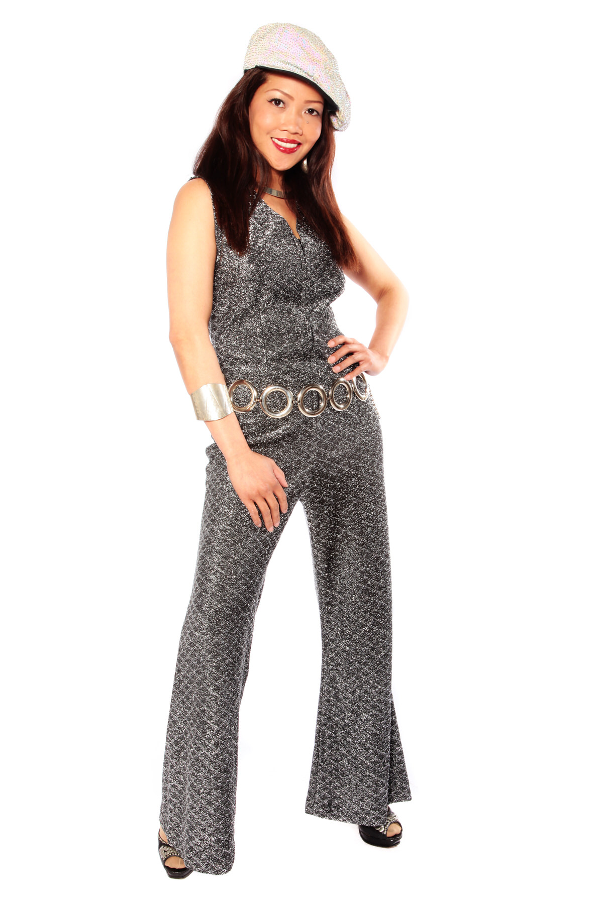 SILVER FLARED SPARKLY CATSUIT W SILVER CHAIN BELT