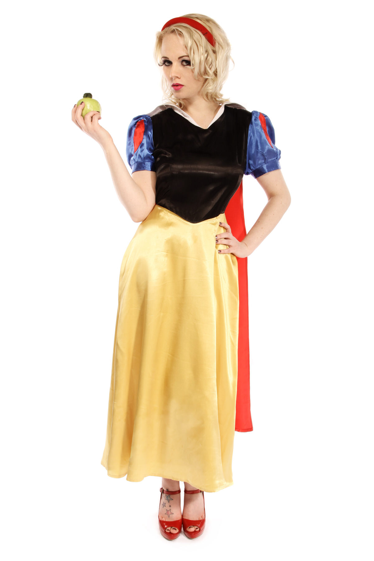 SNOW WHITE LONG DRESS COSTUME W SATIN CAPE