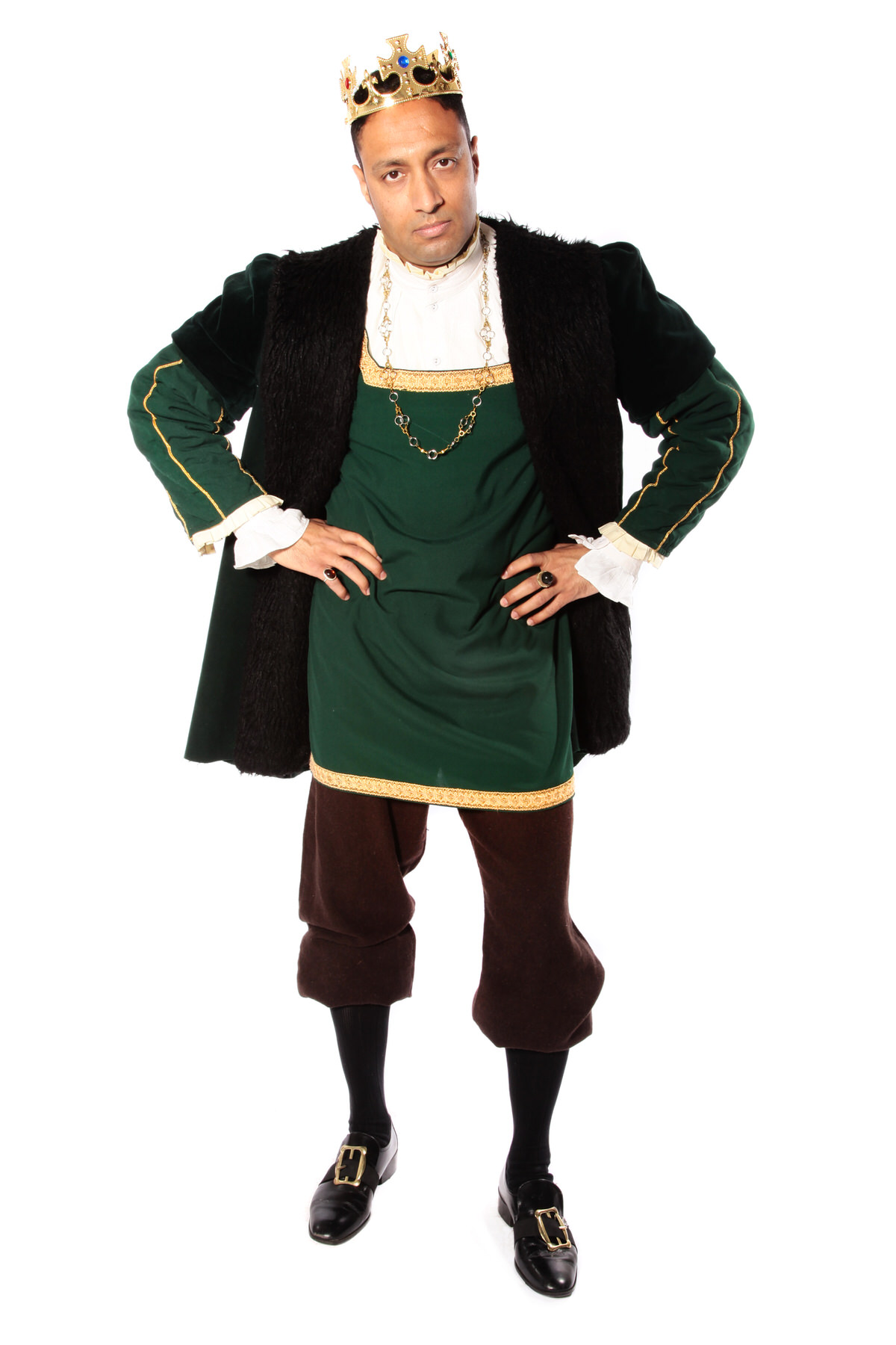 MEDIEVAL KING COSTUME W DARK GREEN TUNIC