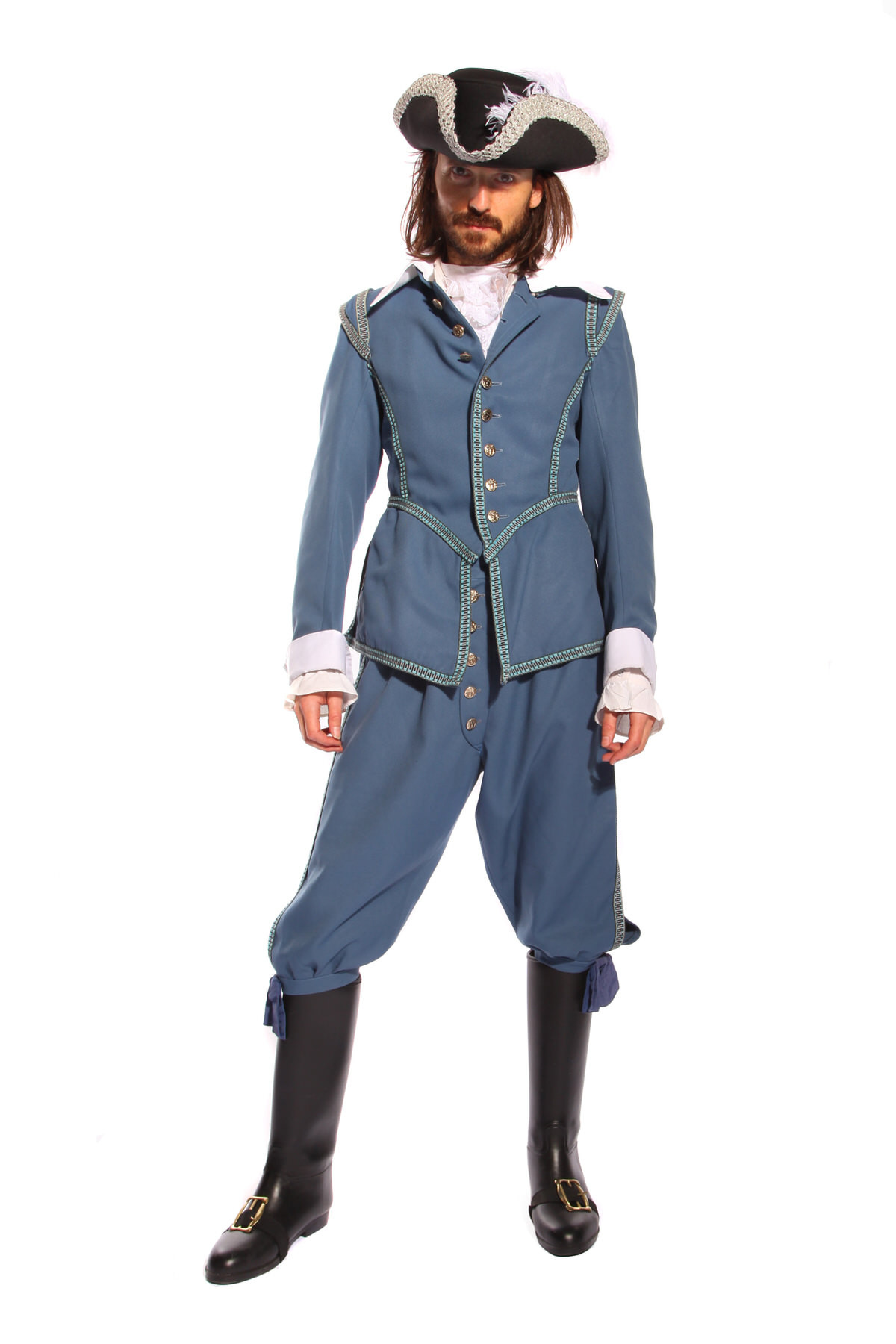 CAVALIER STUART GENT BLUE COSTUME W RIDING BOOTS