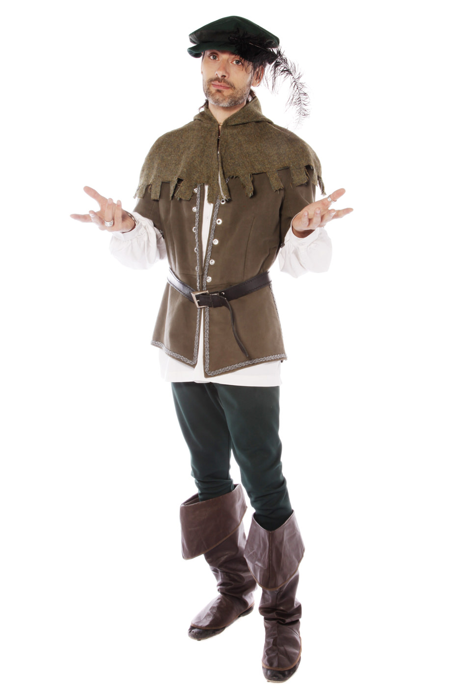 MEDIEVAL MERRY MAN GREEN COSTUME W HOODED CAPE