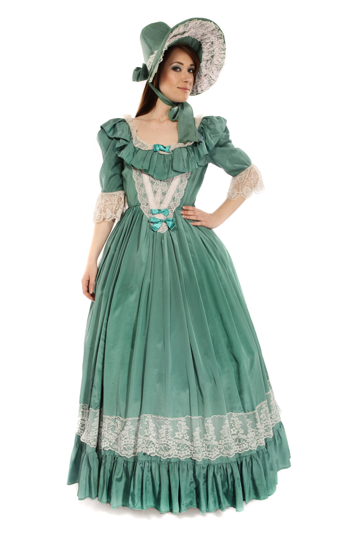 GEORGIAN GREEN DRESS COSTUME W MATCHING HAT