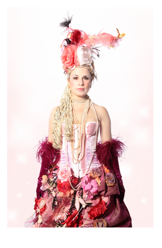 MARIE ANTOINETTE FLORAL COSTUME W PINK CORSET