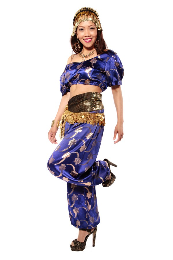 BELLY DANCING PURPLE GENIE COSTUME W HAREM PANTS