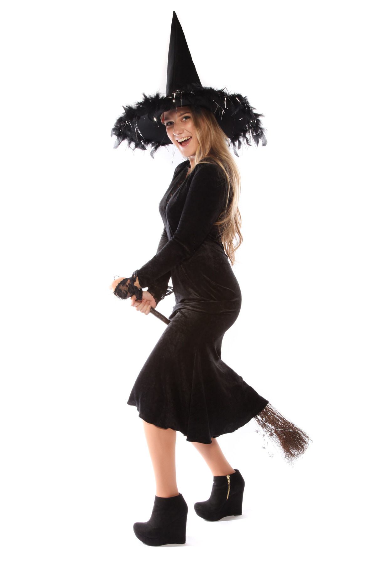 BLACK VELVET WITCH COSTUME WITH HAT AND BROOM