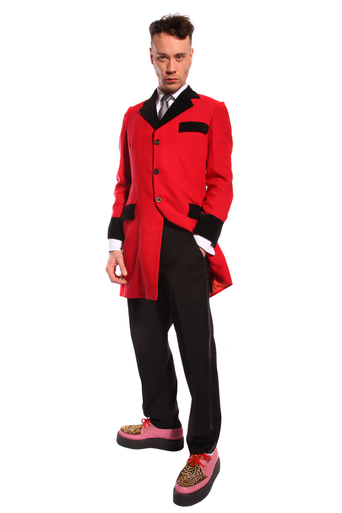 RED AND BLACK TEDDY BOY COSTUME W BROTHEL CREEPERS