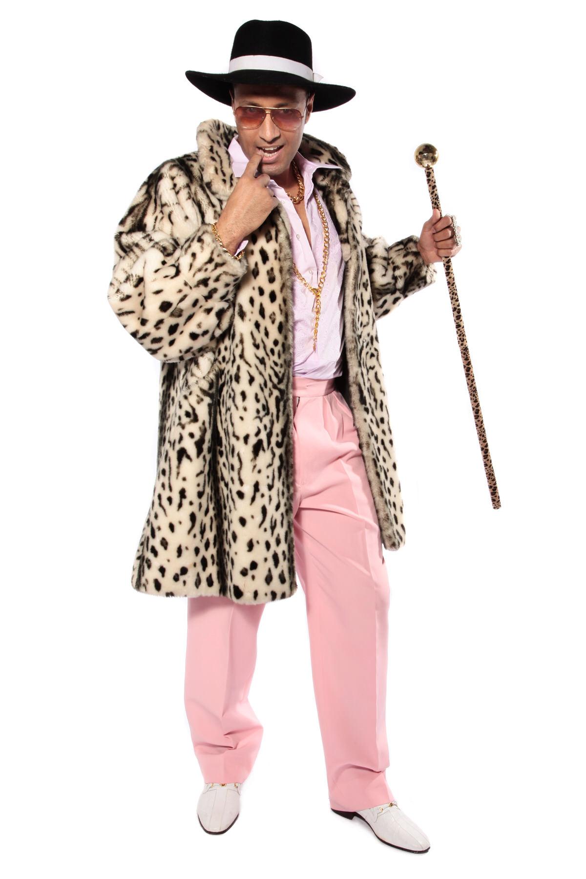 70s PIMP COSTUME W LEOPARD PRINT COAT