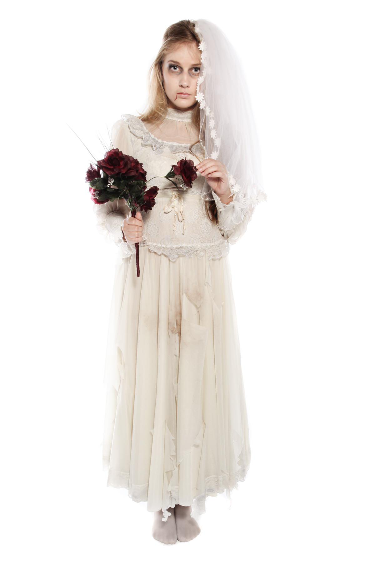DEAD BRIDE WEDDING DRESS AND VEIL COSTUME
