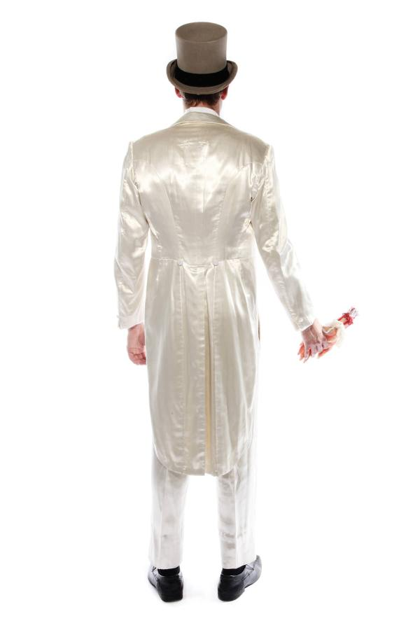 DEAD GROOM WHITE SATIN SUIT COSTUME side