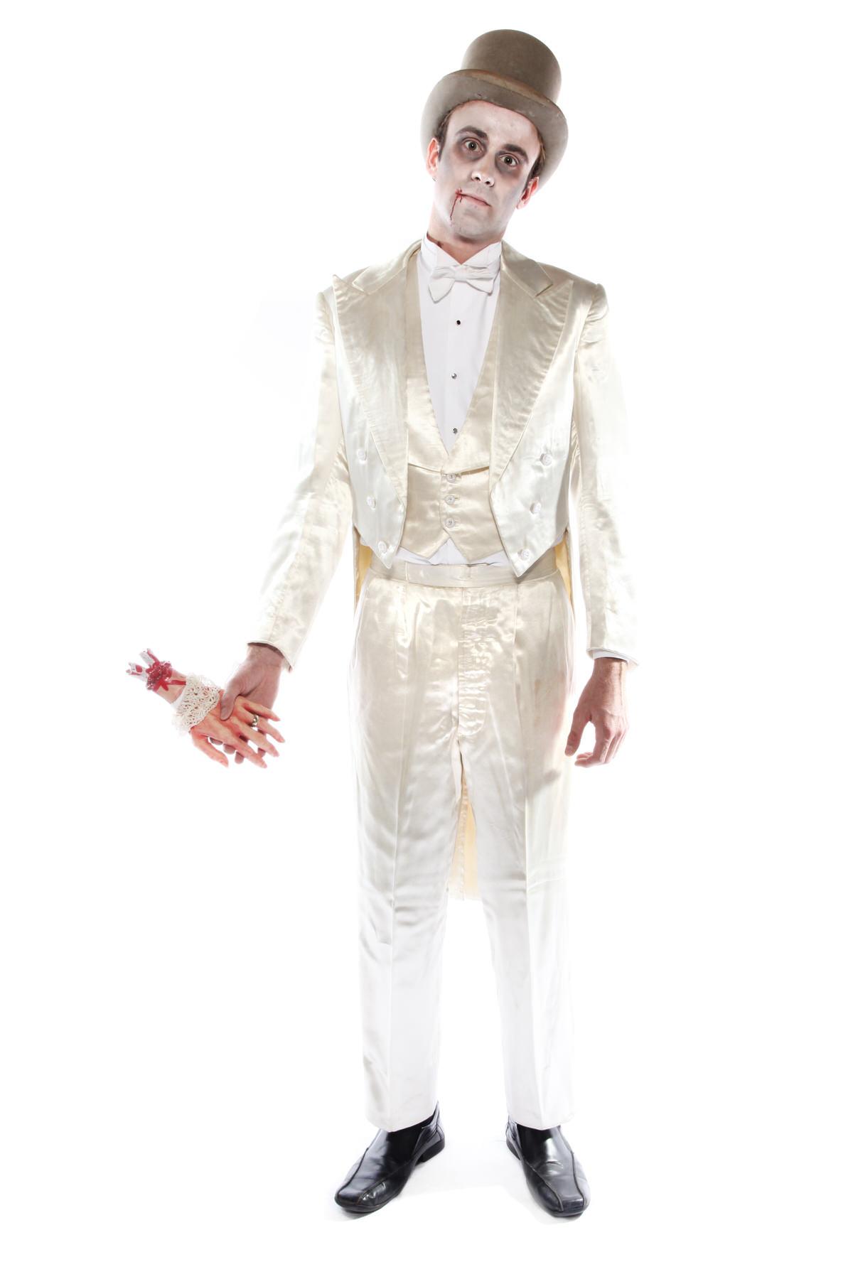 DEAD GROOM WHITE SATIN SUIT COSTUME W TOP HAT