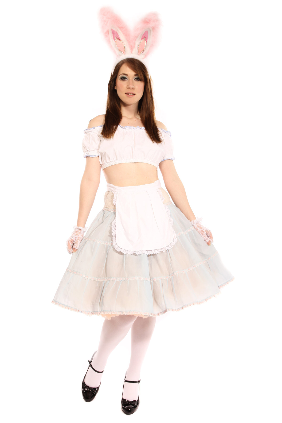 ALICE EASTER BUNNY GIRL COSTUME W FLUFFY BUNNY EARS