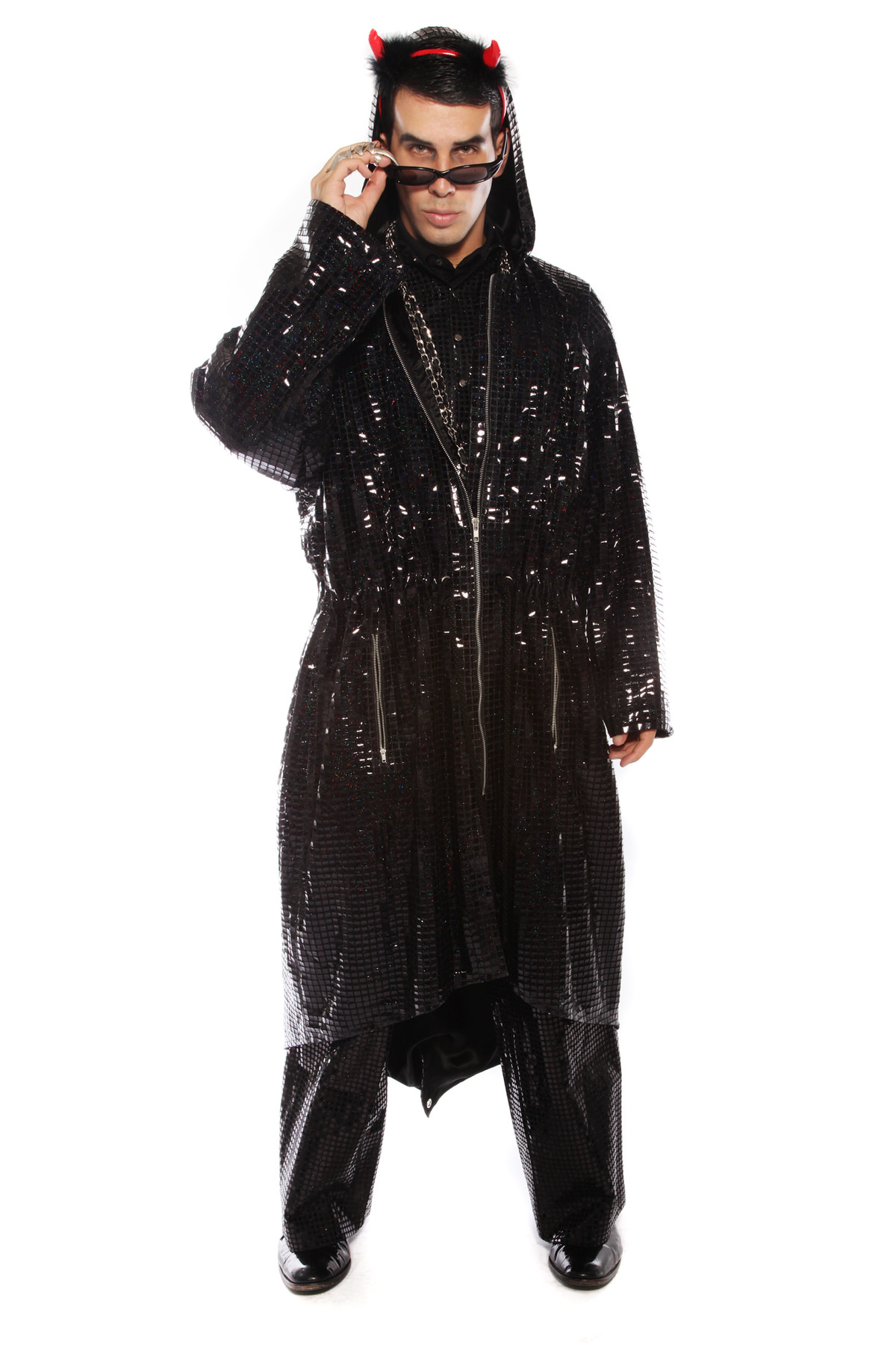 MATRIX DEVIL LONG BLACK SEQUIN COAT AND TROUSERS