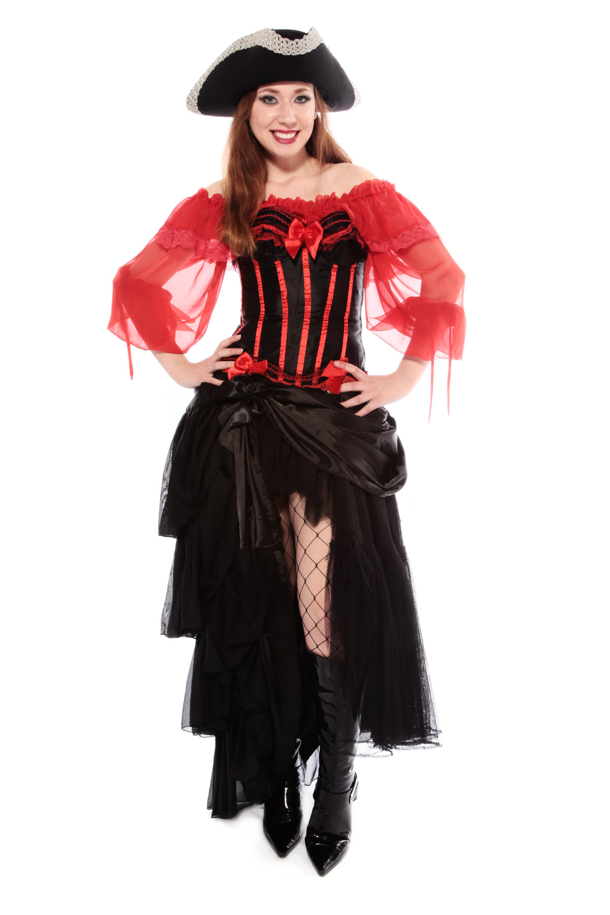 BURLESQUE PIRATE WOMAN'S COSTUME W TRICORN HAT