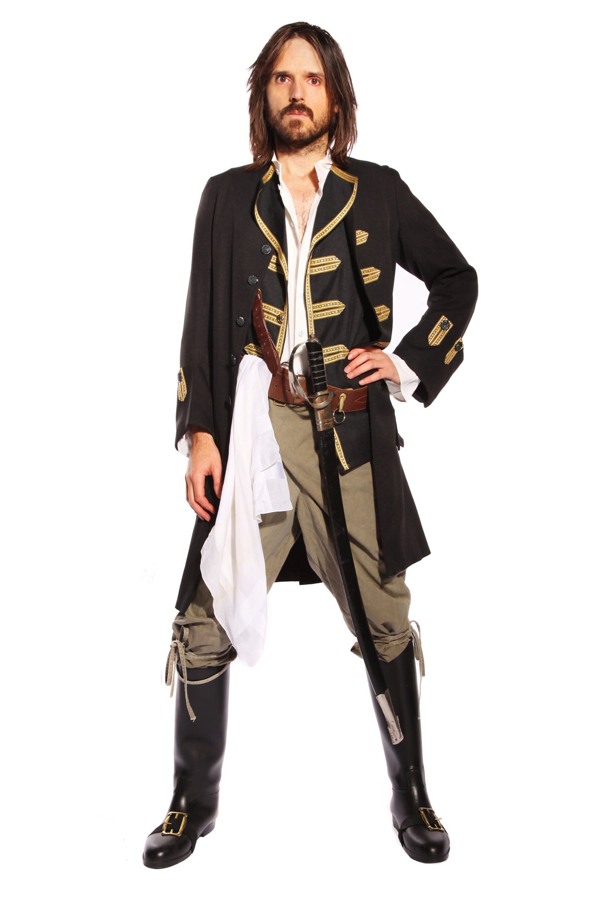 PIRATE MAN COSTUME W NAVAL STYLE FROCK COAT