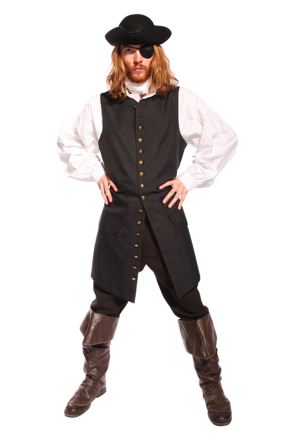 MIDSHIPMAN PIRATE COSTUME W TRICORN HAT