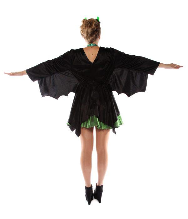 Punky green & black Bat dress Back