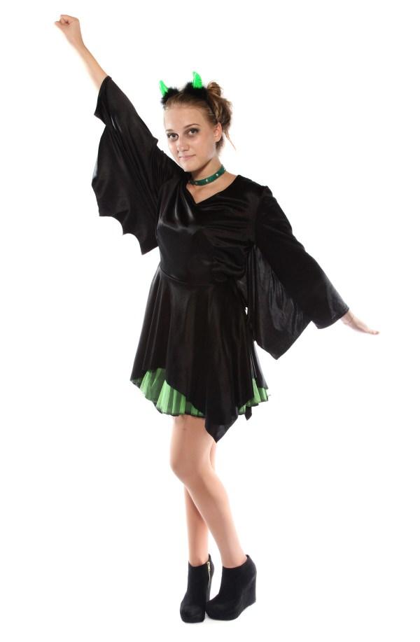 Punky green & black Bat dress Front