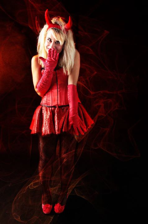 RED CORSET DEVIL COSTUME W SKIRT & GLOVES