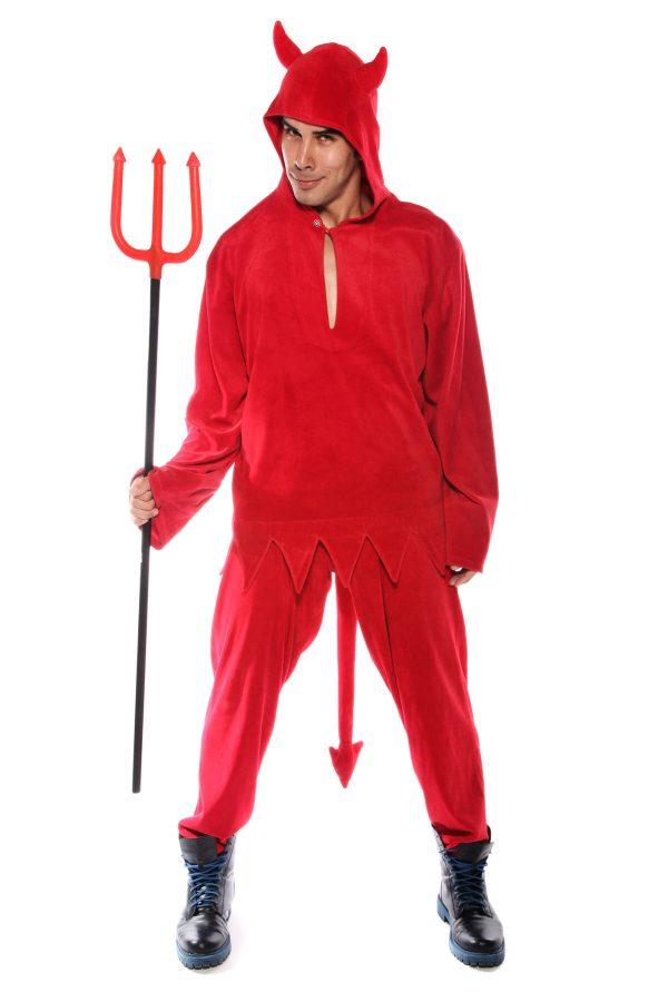 RED DEVIL VELOUR HOODIE TRACKSUIT COSTUME