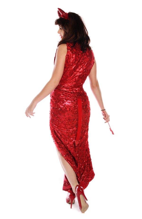 Red shimmering devil costume back