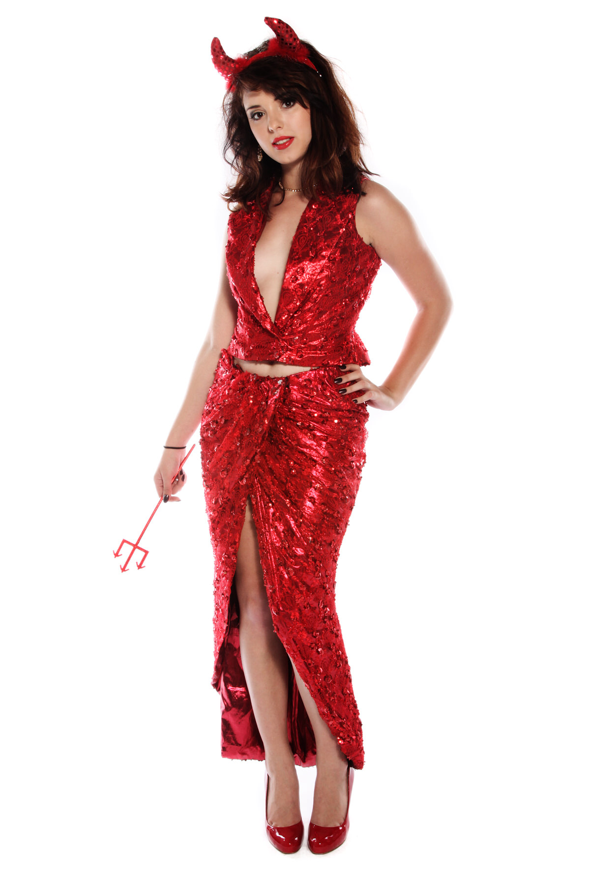 RED SHIMMERING 2 PIECE DEVIL COSTUME WITH HORNS