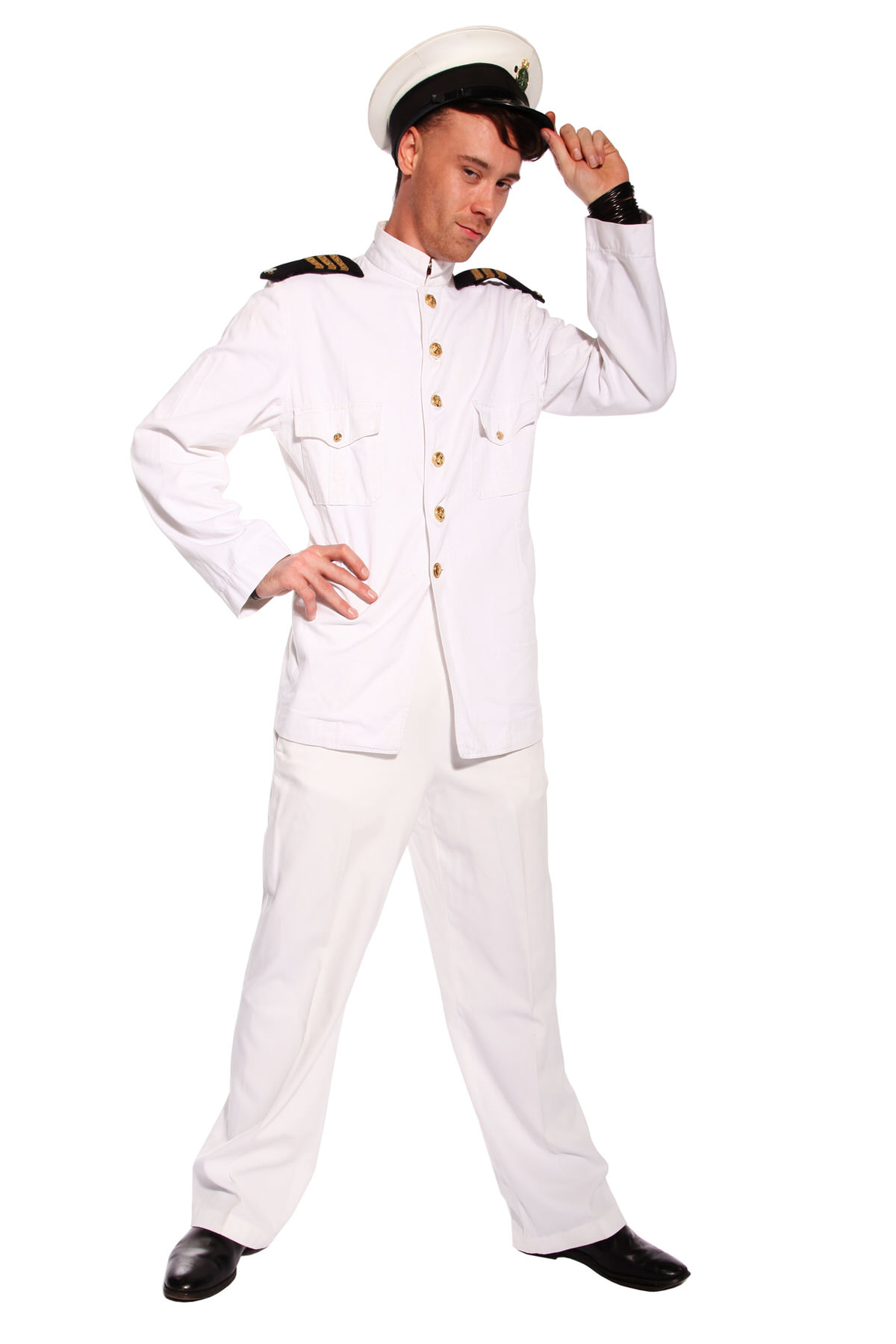 SEA CAPTAIN WHITE COSTUME W PEAKED CAP