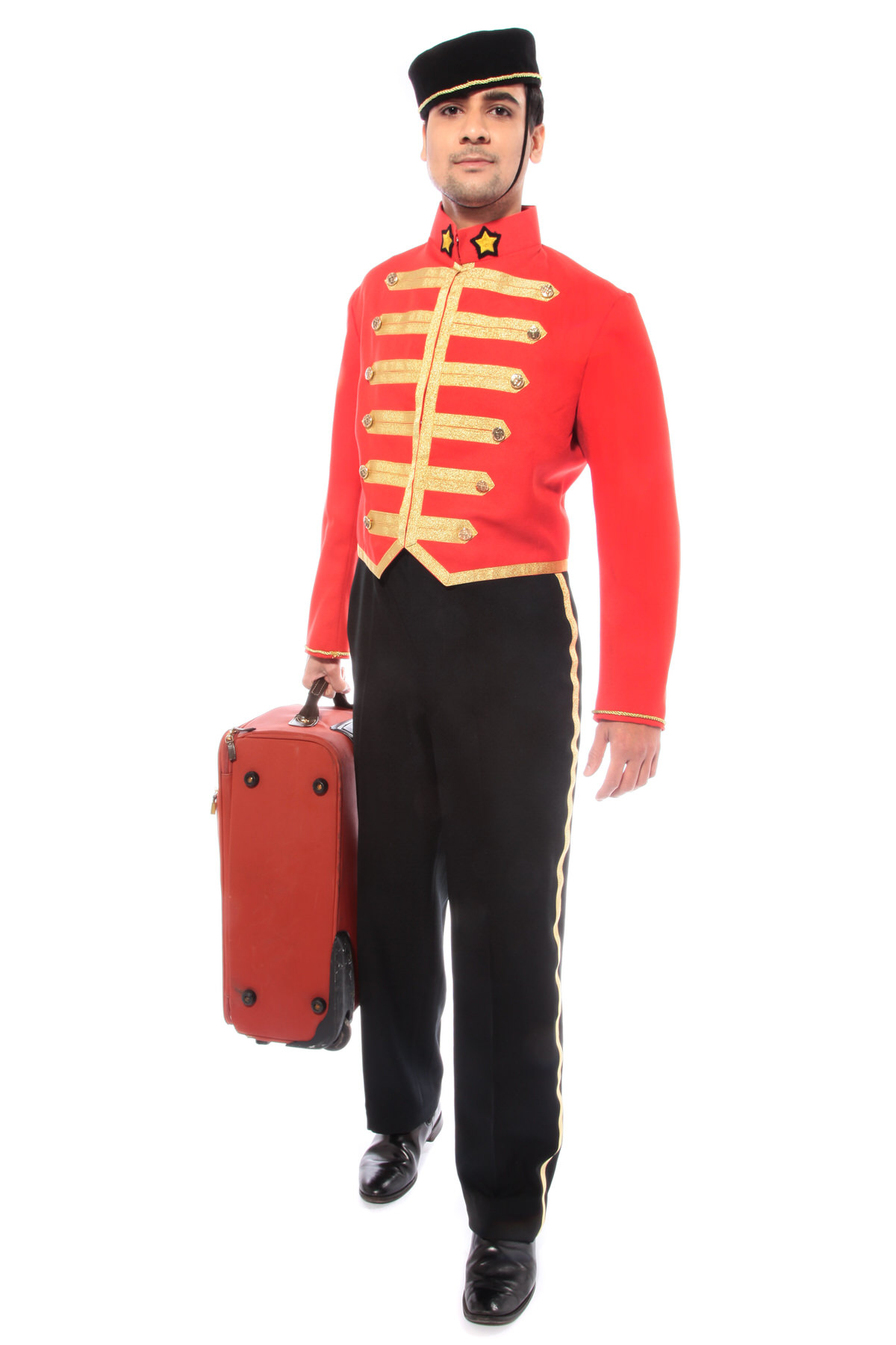 BELL BOY RED COSTUME WITH PILL BOX HAT