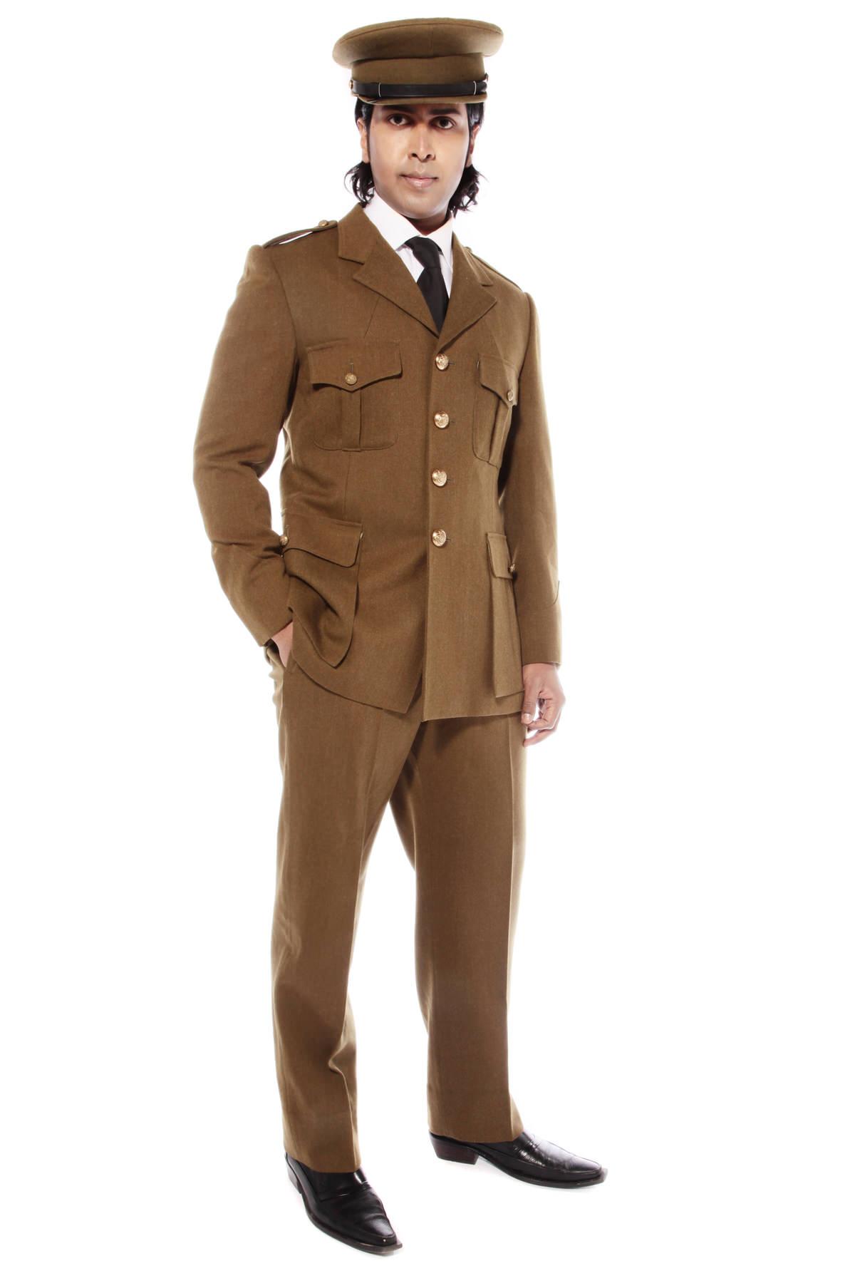 WW11 BRITISH ARMY OFFICER COSTUME W MATCHING CAP