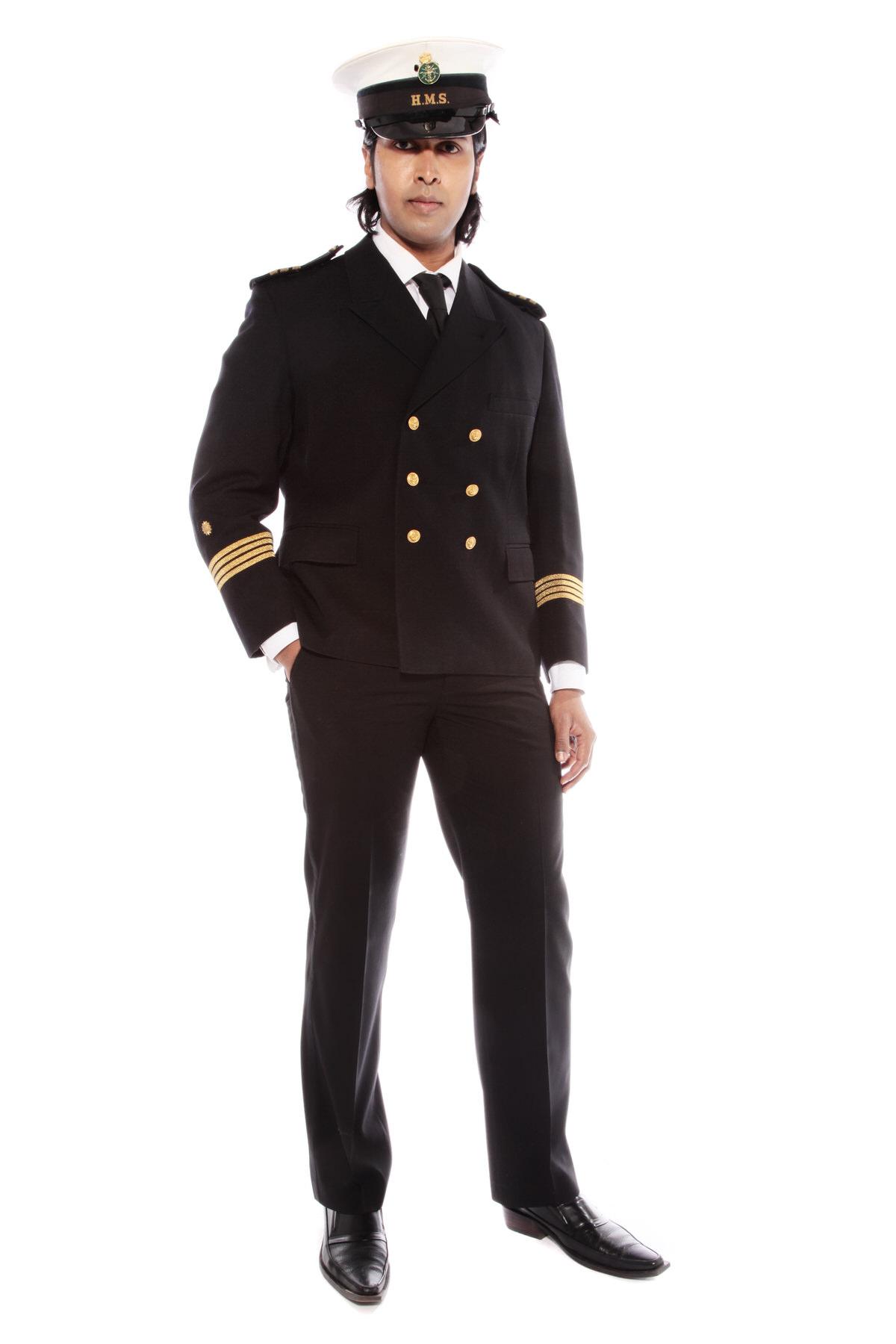 NAVAL OFFICER COSTUME W PEAKED HMS CAP