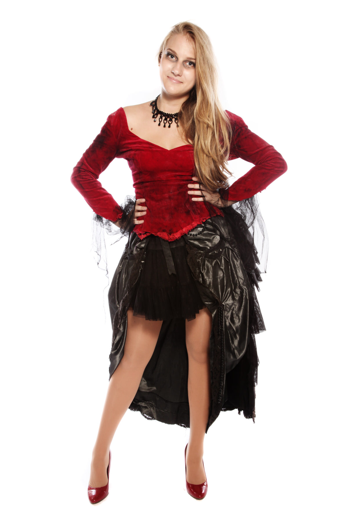 VICTORIAN BUSTLE AND RED VELVET GOTHIC LADY COSTUME