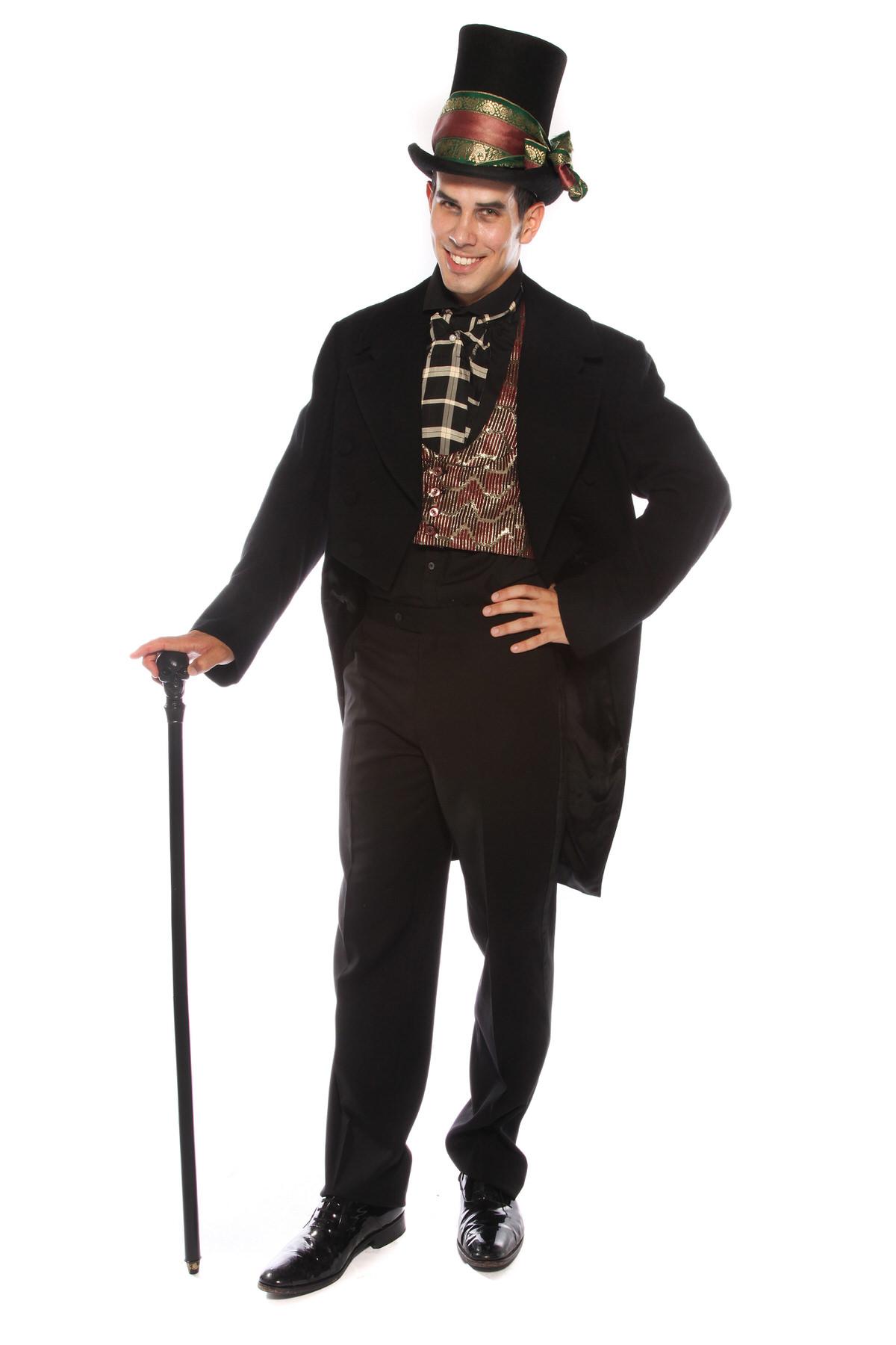 VICTORIAN GENT VAMPIRE  COSTUME W TOP HAT