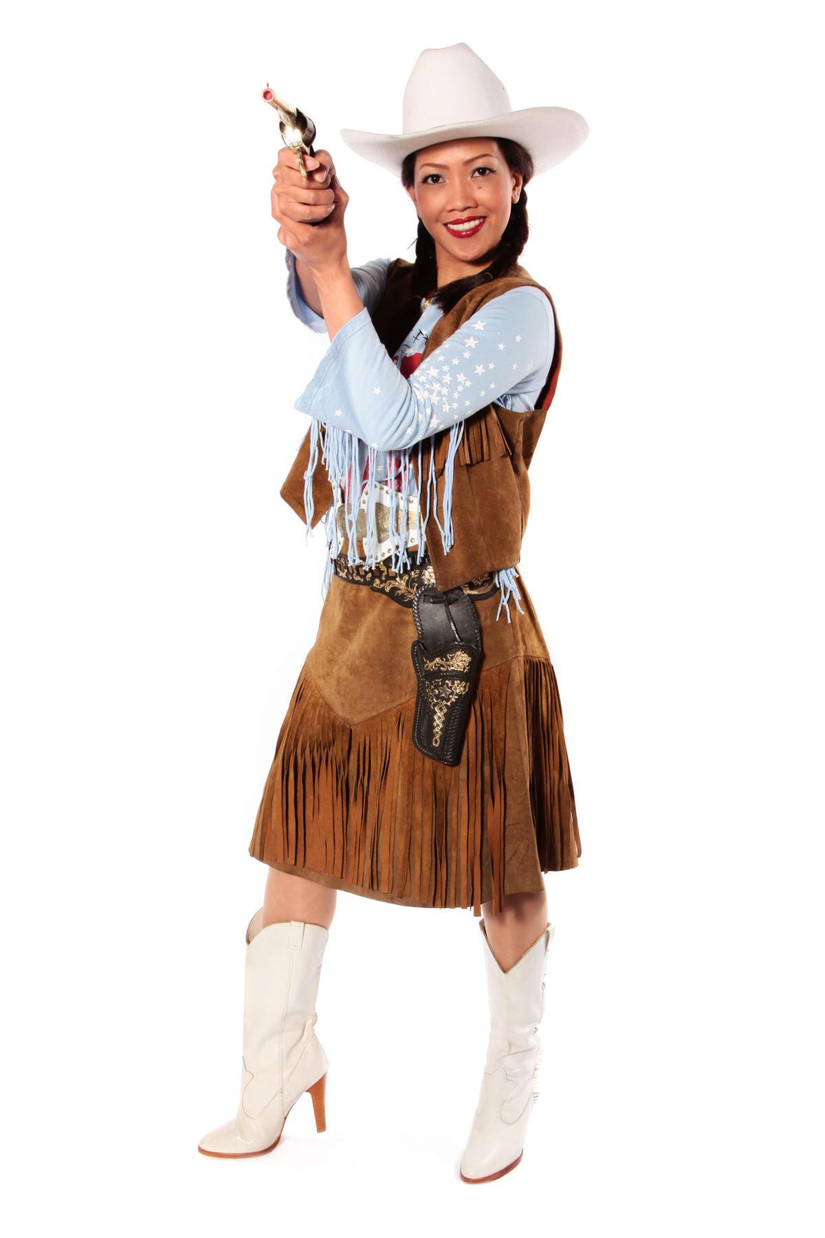 COWGIRL ANNIE COSTUME W TASSELED SKIRT & WAISTCOAT