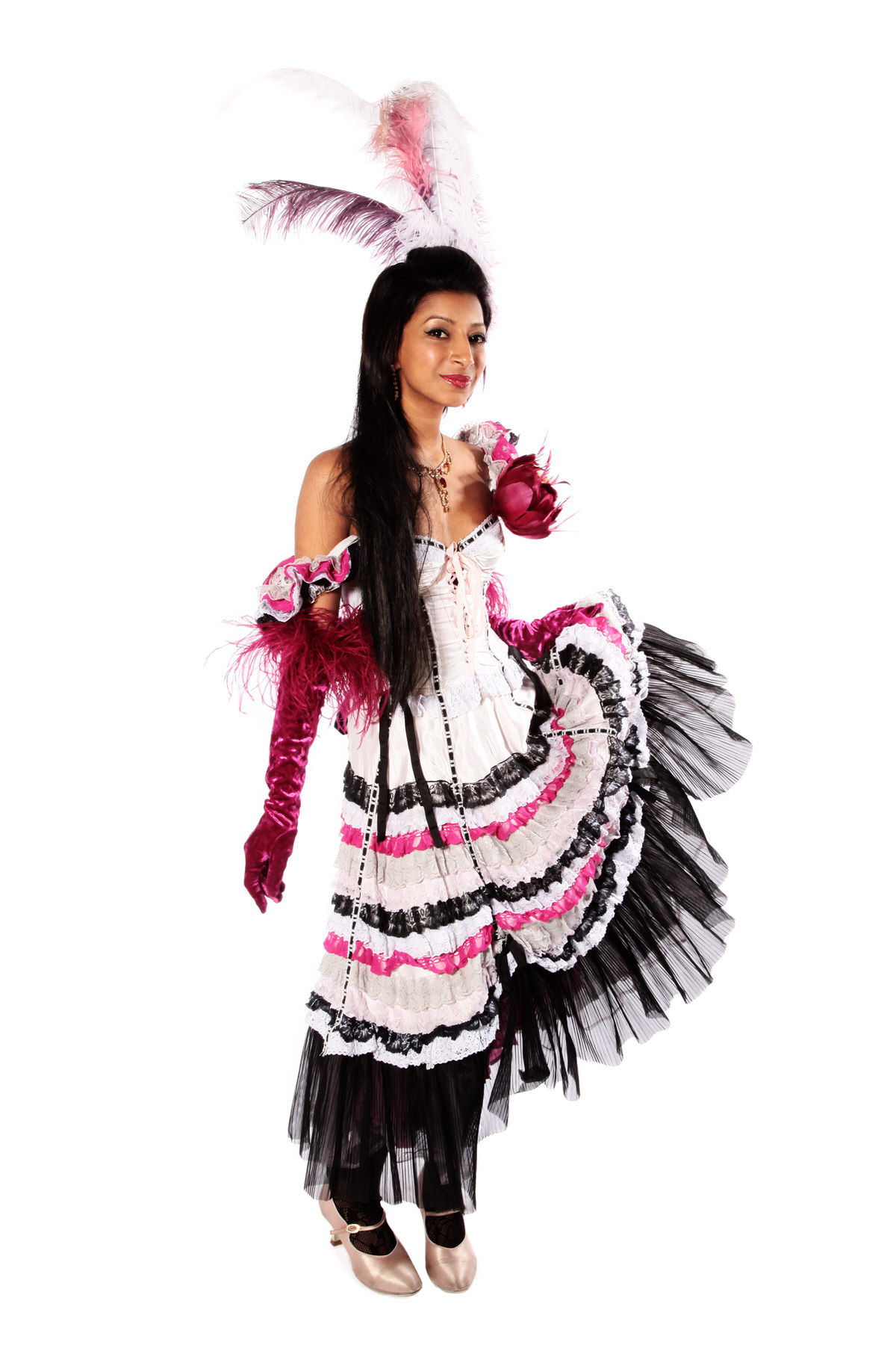 SALOON GIRL COSTUME W HAIR FEATHERS & GLOVES