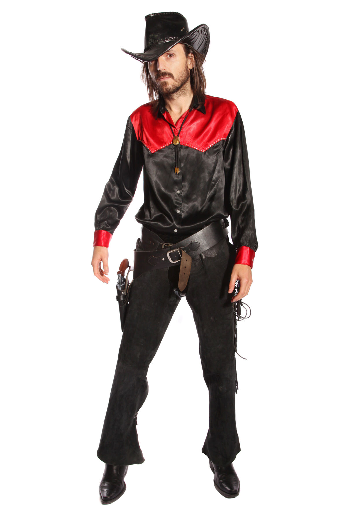 COWBOY RED AND BLACK COSTUME W AUTHENTIC HAT & GUN